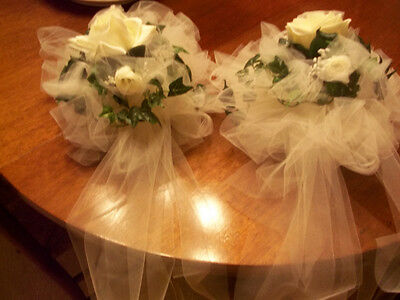 IVORY WEDDING BOWS SET OF 6 (TULLE) PEWS RUSH ORDER Available