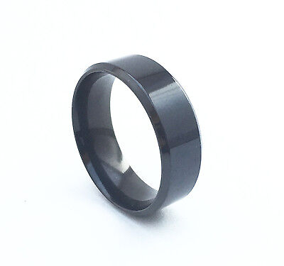 Titanium Brushed Stainless Steel Men's Black Band Solid Gloss 8mm Ring