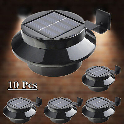 10pcs Solar Gutter Light Solar Fence Light Outdoor Garden Yard Wall Pathway Lamp