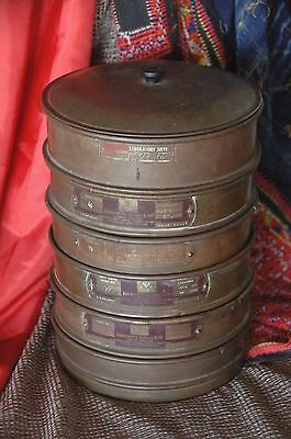 Old English Endecott's Gold Sievos / Laboratory Sieves  …Set of five + holding p