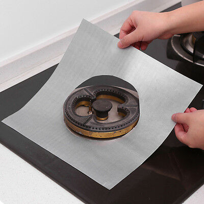 4pcs Reusable Stove Cover Oil Cleaning Mat Pad DIY Oven Liner Non-stick Cover