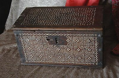 Old Inlaid Moroccan / North African Wooden Chest … inlaid with Mother of Pearl