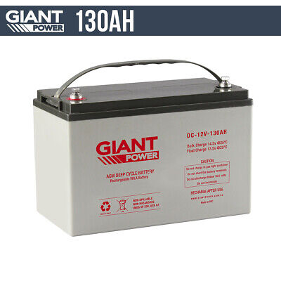130AH 12V AGM Deep Cycle Battery 12 Volt Fridge Solar Boat Caravan Dual 4WD