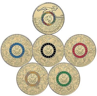 2016 $2 Set Of 6 Olympic And Paralympic Unc Coins Australian Olympic Team Rio
