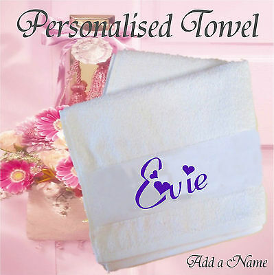 Personalised Hand Towel Add a Name at the top, Ideal for Hotel, B&B etc. Gift