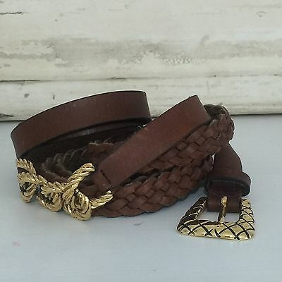 VINTAGE Leather Belt GOLD Plaited DOUBLE Over Waist LOVE IT!!! BOHO Hippy