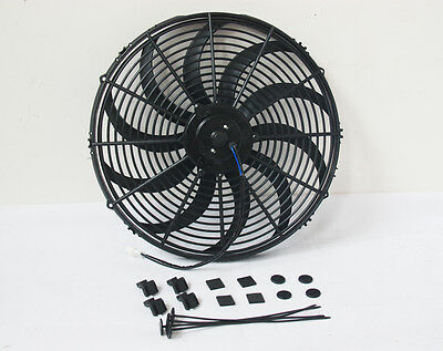 """Universal 16"""" 16 inch 12V Electirc Radiator Cooling Thermo Fan & Mounting kit"""