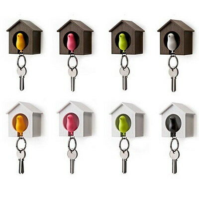 Likable Bird Nest Sparrow House Key Chain Ring Keyring Wall Hook Holders Whistle