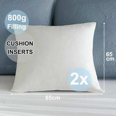 2x New Brand European Cushion Pillow Inserts Polyester Filling 800g 65x65cm AU