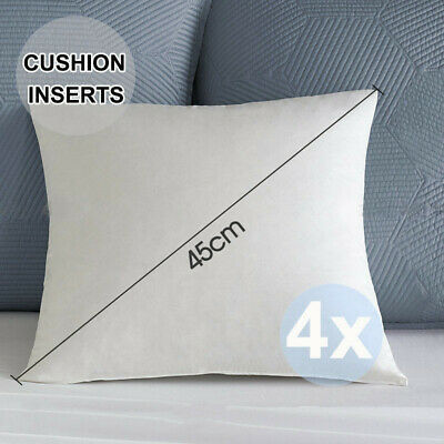 4x Fancy Cushion Pillow Inserts Premium Polyester Fibre Filling White 45x45cm