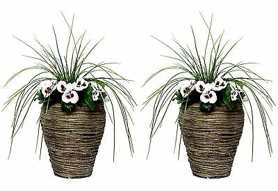 2 x 45cm Artificial White Pansy & Onion Grass Topiary in Bamboo Patio Planters