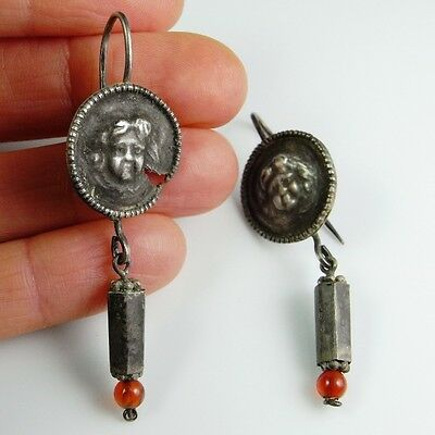 Fine Ancient Roman 1st C AD Antique Silver Earrings Pre Georgian Victorian Cupid