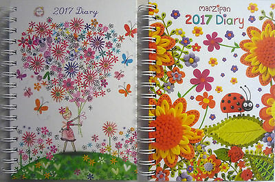 2017 Hardback Ring Bound Week to View A5 Diary Marzipan Ladybug or Daisy Patch