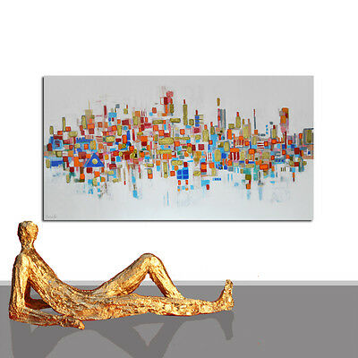 PAINTING LARGE ABSTRACT INTERIOR DESIGN WHITE GOLD XXL WALL ART DECOR ⭐ 55 x 27
