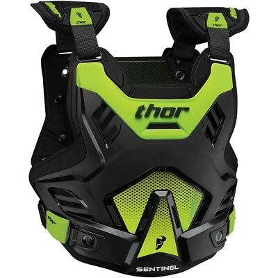 Thor MX Kids NEW Sentinel GP Roost Chest Protector Black Green Youth Body Armour