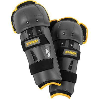 Thor MX NEW Kids Sector GP Charcoal Yellow CE Cert. Youth Motocross Knee Guards