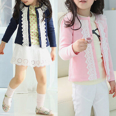 New Cardigan jacket Girls Kids Princess Lace Coat Long Sleeve Outwear Clothes BG