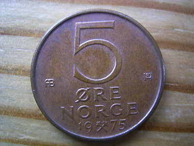 1975 Norway 5 ore coin collectable