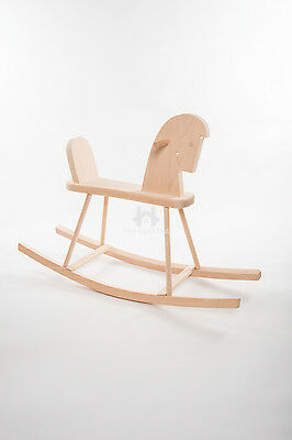 Plain natural solid pine Children's traditional wooden Rocking Horse Toy DG340