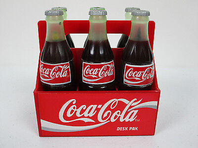 Coca Cola Desk Set Miniature Bottles With Office Supplies 1995 Six Pack Vintage