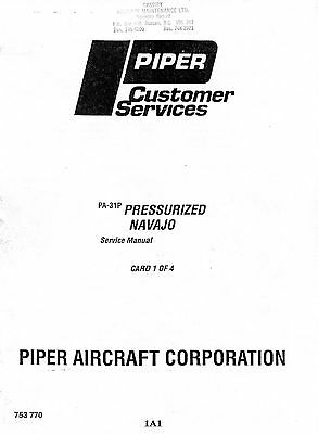 Piper Service Manual Pa-31P - Pressurizes Navajo - Cards 1, 2, 3, & 4