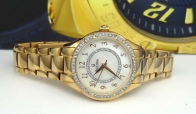 Bulova 98L183 Rose Gold Mother of Pearl Dial Crystal Accented Women's Watch