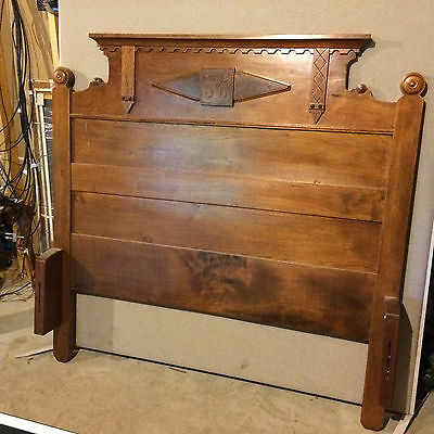 BEST PRICE! Antique Eastlake Walnut and Burled Wood Full Size Bed CIRCA 1890