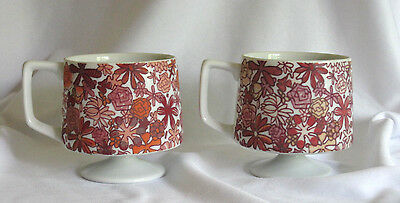 2 Holt Howard Coffee Mugs Mid Century Pedestal Floral Retro