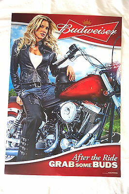 GRAB SOME BUDS Sexy BUDWEISER GIRL BEER POSTER After ride Motorcycle Chopper