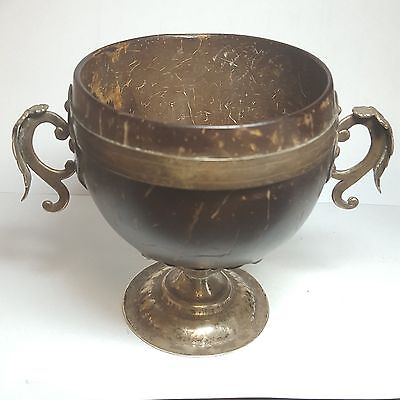 Vintage 19th Century Mexico Silver and Coconut Chocolate Cup WOW 2932