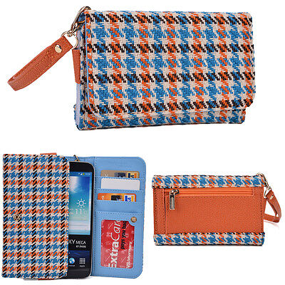 """Women's Cute Patterned Snap Button Wristlet Wallet for 6.4"""" Smart Cell Phone"""