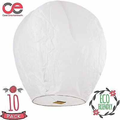 Chinese lanterns Sky Lanterns 10 pack White 100% Bio and Fully Assembled