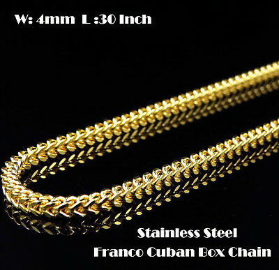 """Mens 30"""" & 4mm Gold Stainless Steel Franco Cuban Box Chain Link Necklace 201G"""