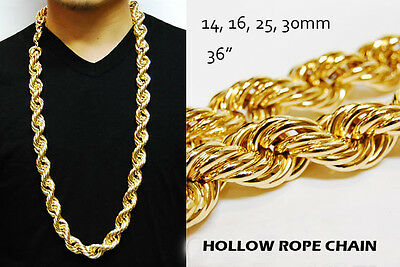 """RUN DMC 14 & 16 & 25 & 30mm HOLLOW GOLD PT THICK ROPE 36"""" NECKLACE DOOKIE CHAIN"""