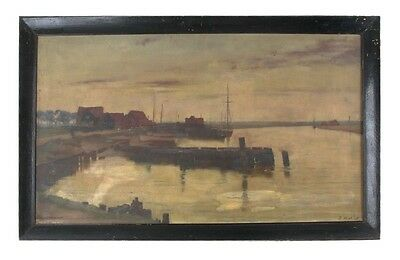 """Untitled Oil on Canvas (Ship Dock) by Walbert Wier Signed 21""""x34"""" Amazing Piece!"""