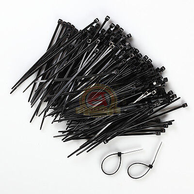 "1000 INDUSTRIAL 4"" BLACK WIRE CABLE ZIP TIES NYLON TIE WRAPS Free Shipping"