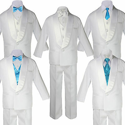 5-7pc Boy White Formal Shawl Lapel Suit Tuxedo Turquoise Satin Bow Necktie Vest