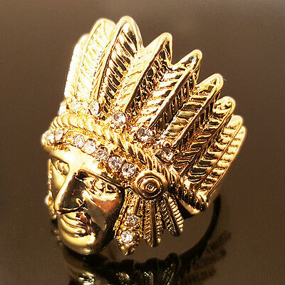 New Mens Iced Out Gold Plated Native American Apache Indian Chief Face Ring