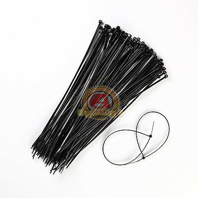 100 Pcs - 11 Inch UV Resistant Nylon Cable Zip Wire Tie 40 lbs Black