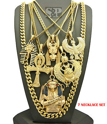 Egyptian King Tut, Anubis, Ankh, Scarab, Horus Bird Cuban Chain 7 Necklace Set