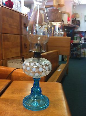 VTG Opalescent Inverted Thumbprint & Blue Fan Base Kerosene Lamp 1880-1900