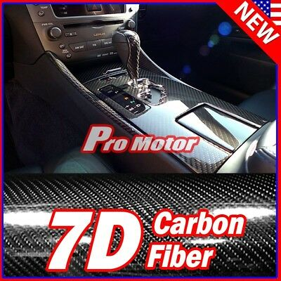 Premium 7D High Gloss Reflective Black Carbon Fiber Vinyl Wrap Bubble Free 2018
