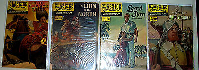 CLASSICS ILLUSTRATED LOT- 6 Issues -Huckleberry Finn! Cossack Chief! Lord Jim! +
