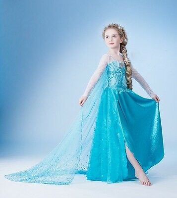 Kids Girls Princess Queen Elsa Costume Party Birthday Dress Cape 2-13 Years