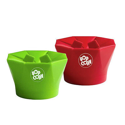 1pc Silicone Microwave Magic Popcorn Maker Container Kitchen Tool Green Red