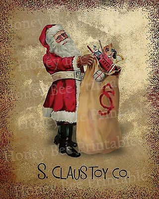 Primitive Santa Claus Toy Co St Nick Holiday Christmas Folk Art PRINT ONLY 8x10