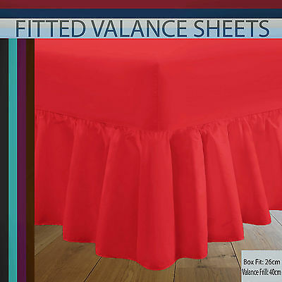 Luxury Plain Dyed Frilled Poly Cotton Valance Bed Sheets Single- Double- King