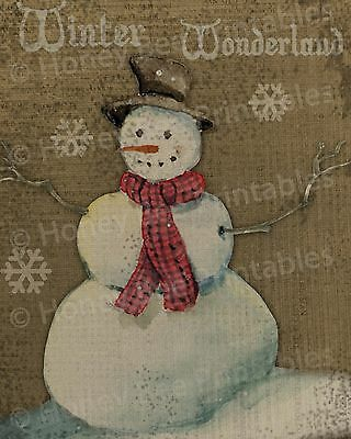 Primitive Christmas Winter Wonderland Snowman Snow Folk Art PRINT 8x10