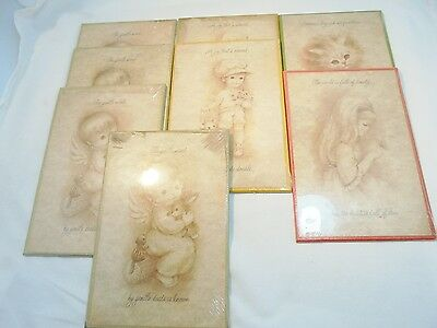"""Vintage Lot of 8 BROWNIE INNOCENTS 8-1/2"""" x 5-3/4"""" Decorated Plaque Wall Hanging"""