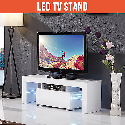 130cm Modern TV Unit Cabinet Stand High Gloss White with FREE LED RGB